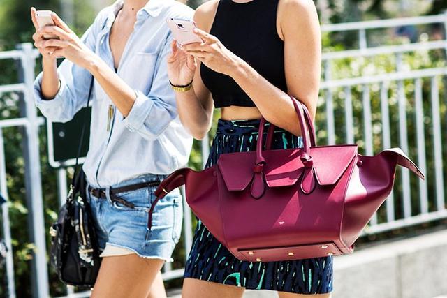 street style denim cutoffs celine bag cell phone
