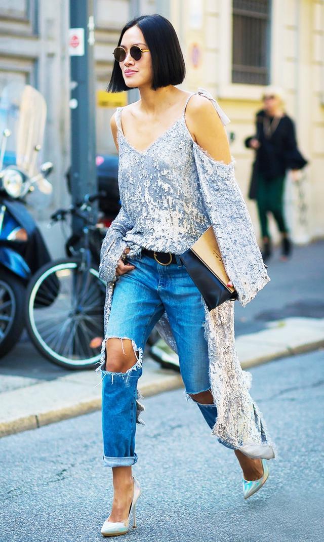 street style silver tank distressed jeans heels.