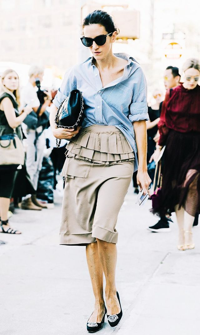 button down shirt and flats street style