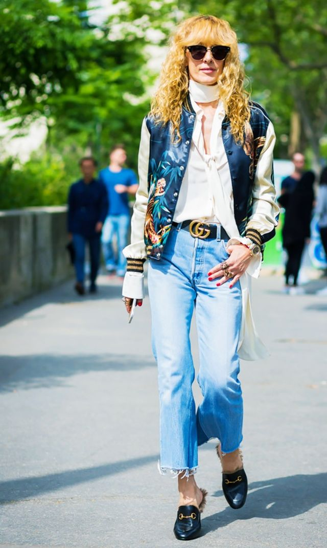 Bomber jacket, vintage jeans, gucci loafers street style