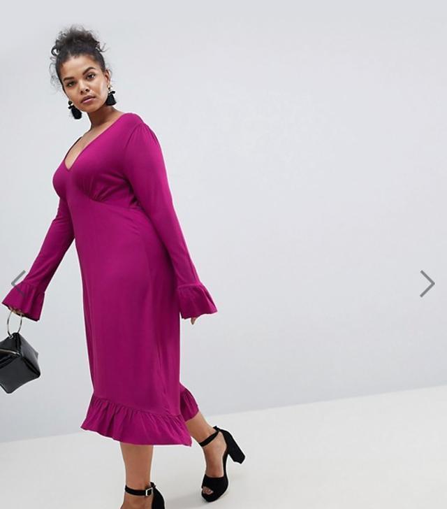 ASOS CURVE Midi Tea Dress With Frill Cuff