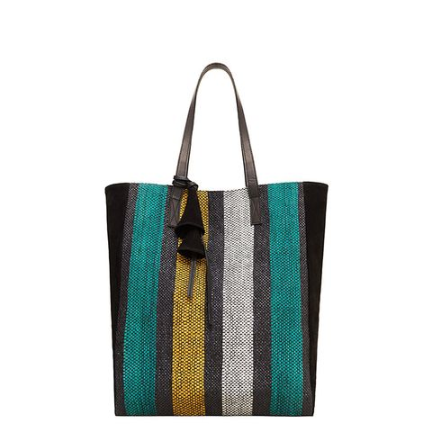 Striped Leather-Blend Bag
