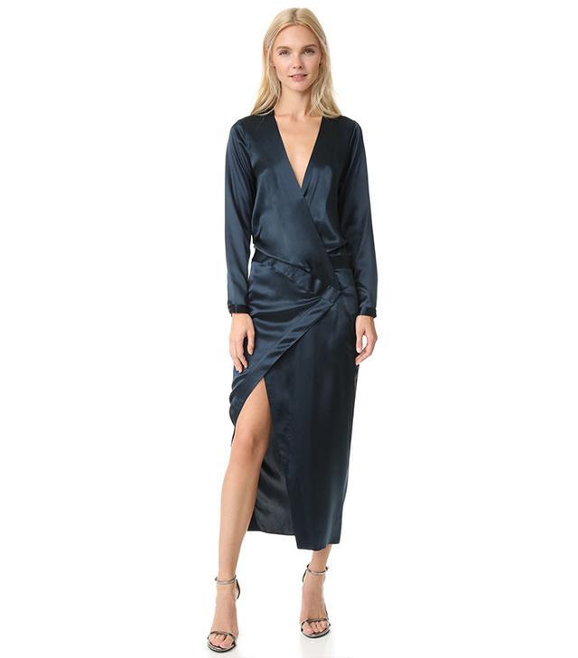 Michelle Mason Long Sleeve Wrap Gown