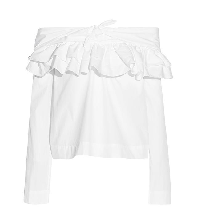 Isa Arfen Off-The-Shoulder Ruffled Cotton-Poplin Blouse