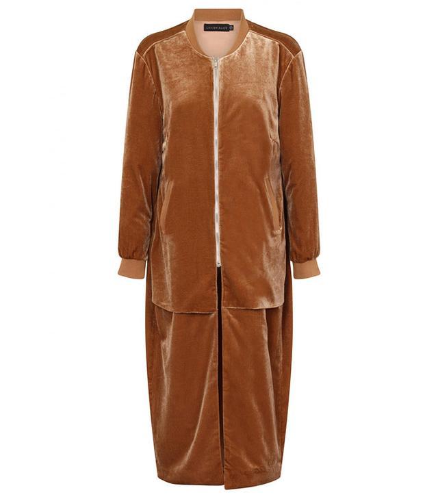 Lavish Alice Camel Velvet Double Layer Longline Bomber Jacket