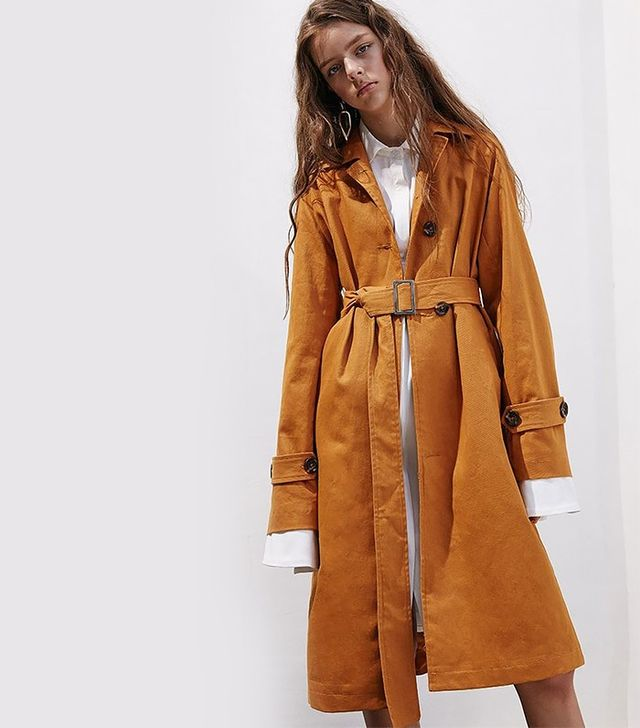 Genuine People Oversized Camel Trench