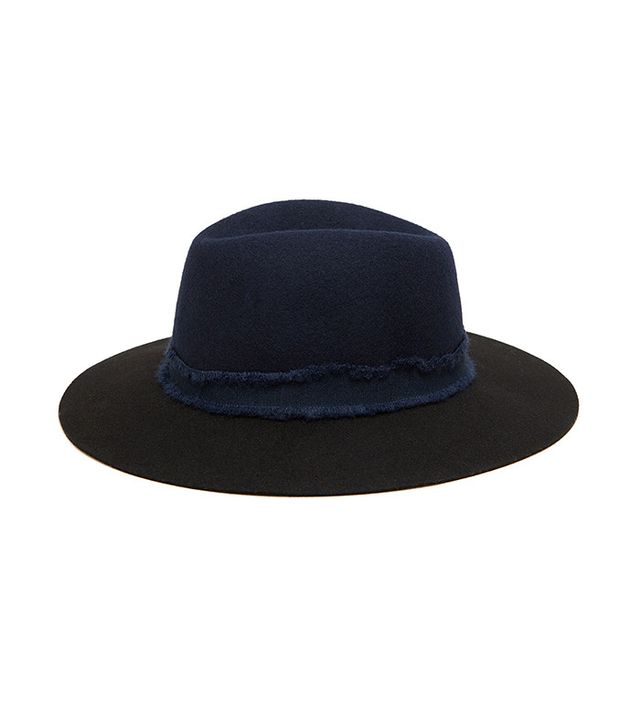 Zara Two-Tone Hat With a Wide Ribbon