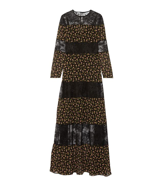Philosophy di Lorenzo Serafini Paneled Floral-Print Silk-Chiffon and Lace Maxi Dress