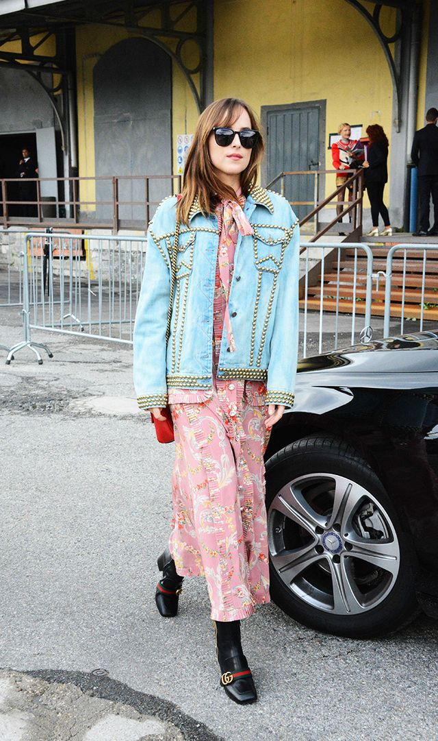 Dakota Johnson Floral Maxi Denim Jacket Gucci Boots