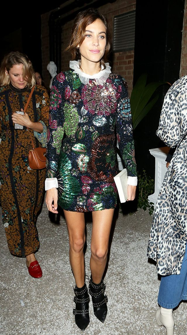Alexa Chung in Sequined Floral Mini and Ruffle Shirt
