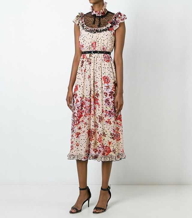Giamba Floral Pleated Dress
