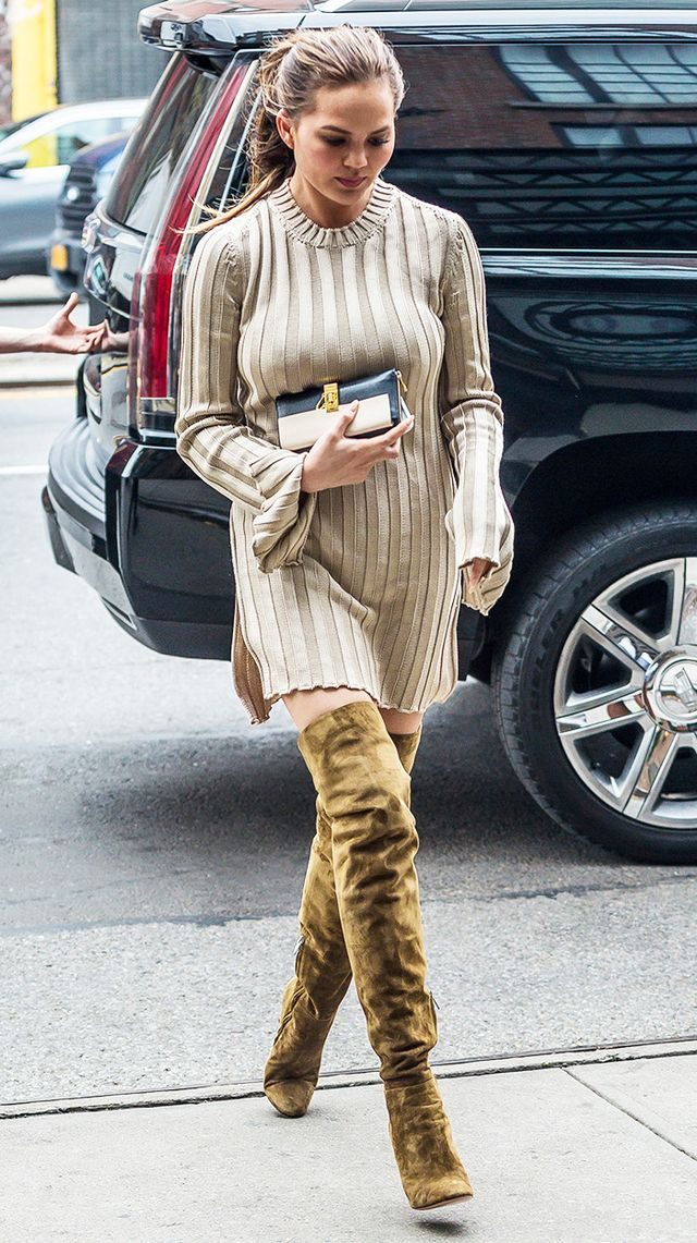 Chrissy Teigan Beige Sweater Dress and Thigh Suede Boots