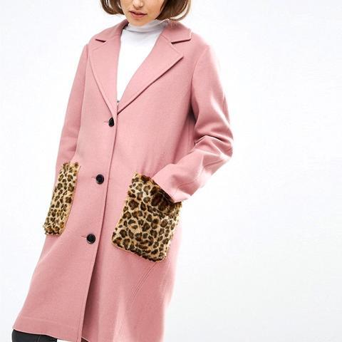 Coat in Wool Blend with Faux Fur Leopard Pockets