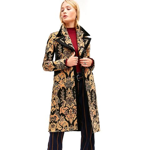 Jacquard Blocked Coat