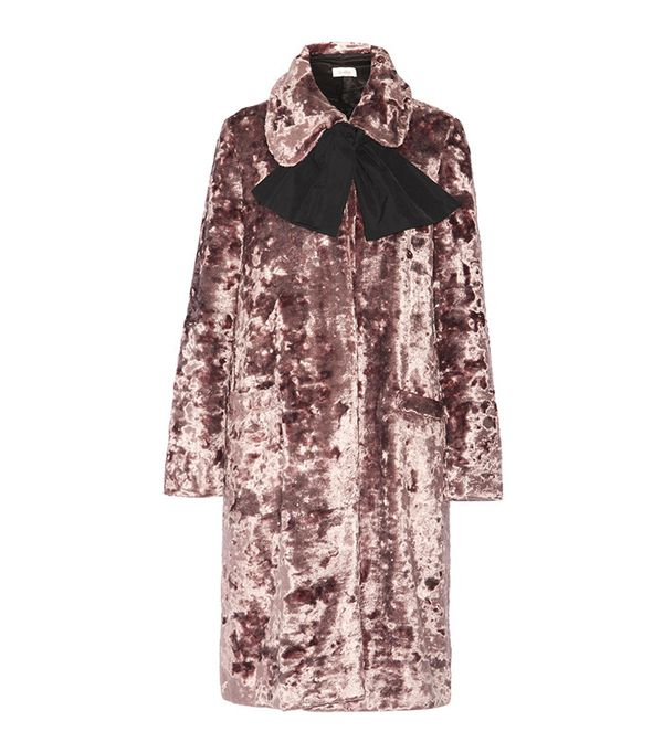 Isa Arfen Crushed-Velvet Coat