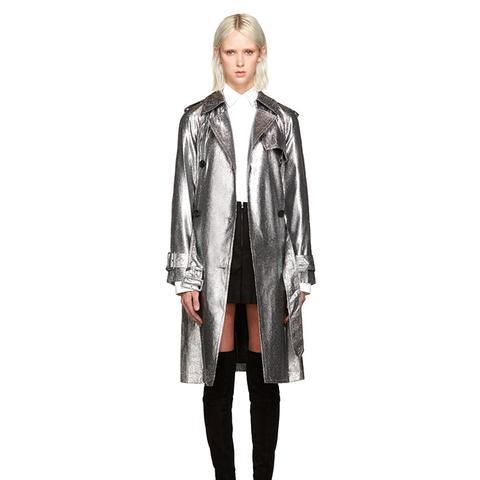 Silver Metallic Trench Coat