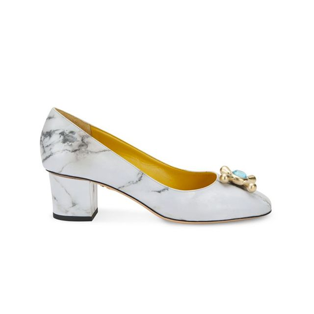 Charlotte Olympia Oprah Marble-Print Leather Pumps
