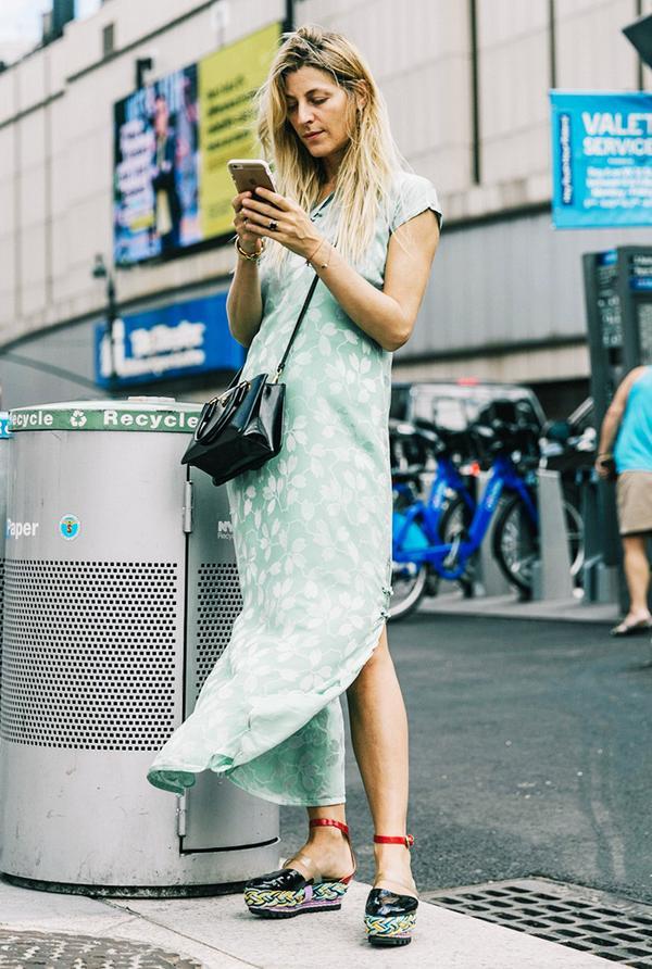 chinese-inspired silk dress street style