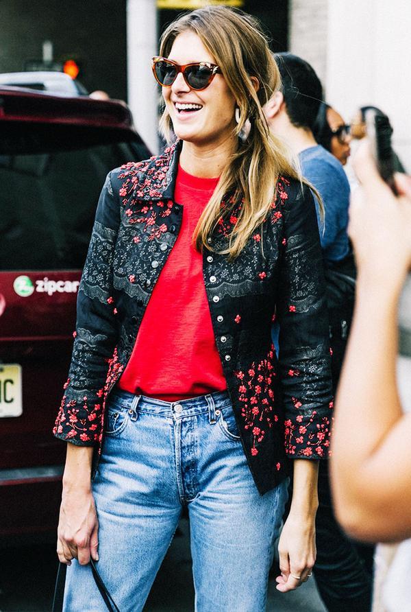 dark floral jacket street style