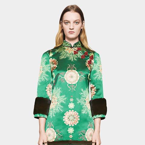Sea Lace Print Silk Dress