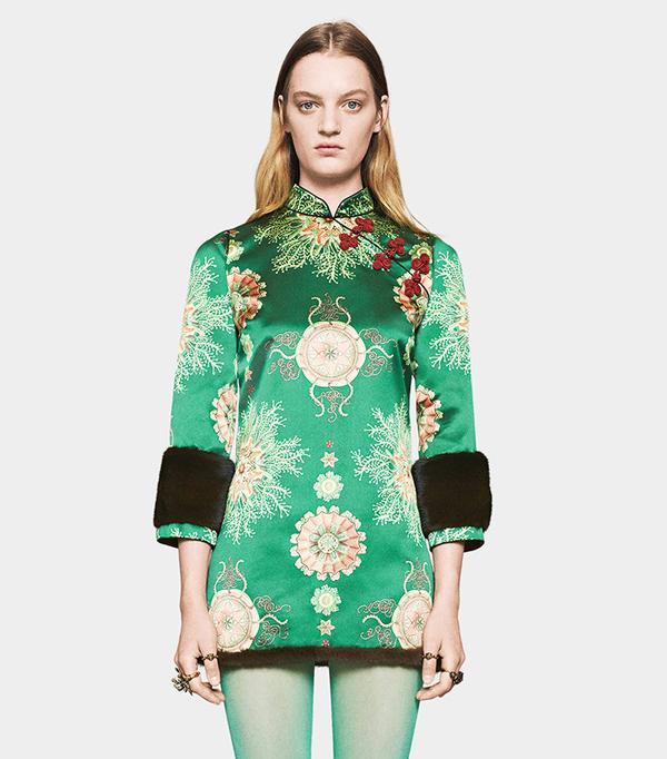 Gucci Sea Lace Print Silk Dress