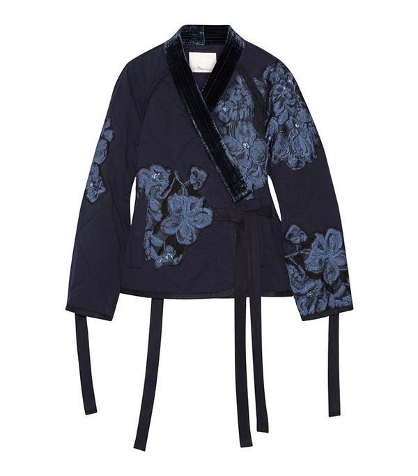 3.1 Phillip Lim Floral-Appliquéd Velvet-Trimmed Cotton Jacket