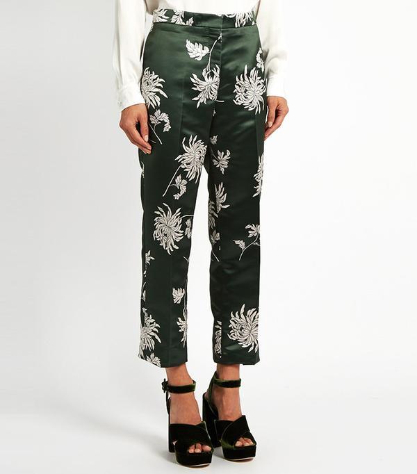 Rochas Dahlia-Print Straight-Leg Duchess-Satin Trousers