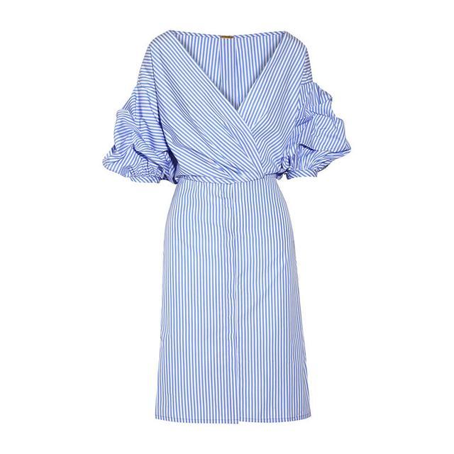 Johanna Oritz Tuxedo Wrap-Effect Dress