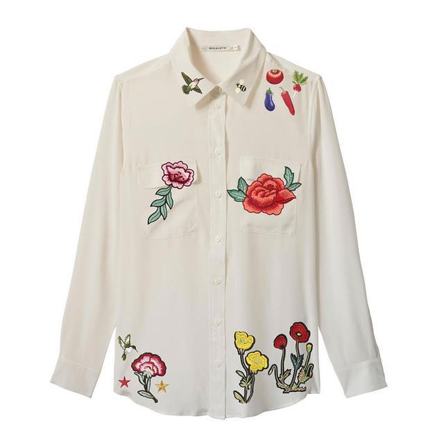 GiniaRTW Silk Shirt Applique Detail