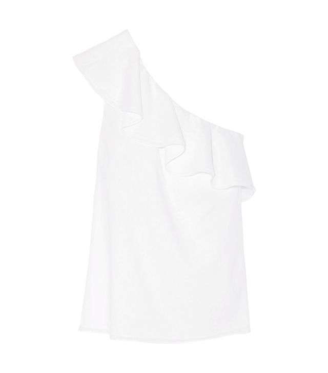 Theory Damarill One-Shoulder Cotton-Poplin Top