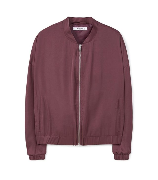 Mango Satin Bomber Jacket
