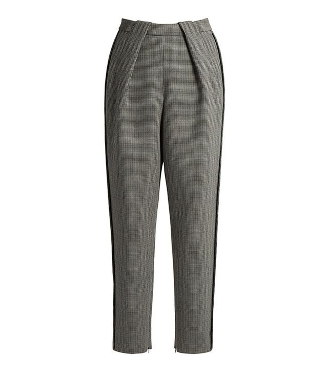Balenciaga High-Waisted Tapered-Leg Hound's-Tooth Trousers