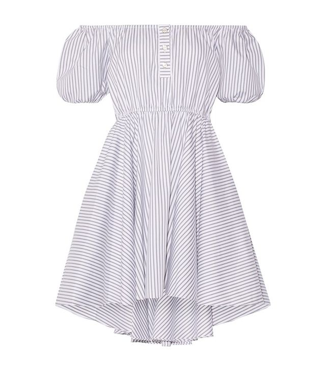 Caroline Constas Bardot Off-The-Shoulder Striped Cotton Mini Dress