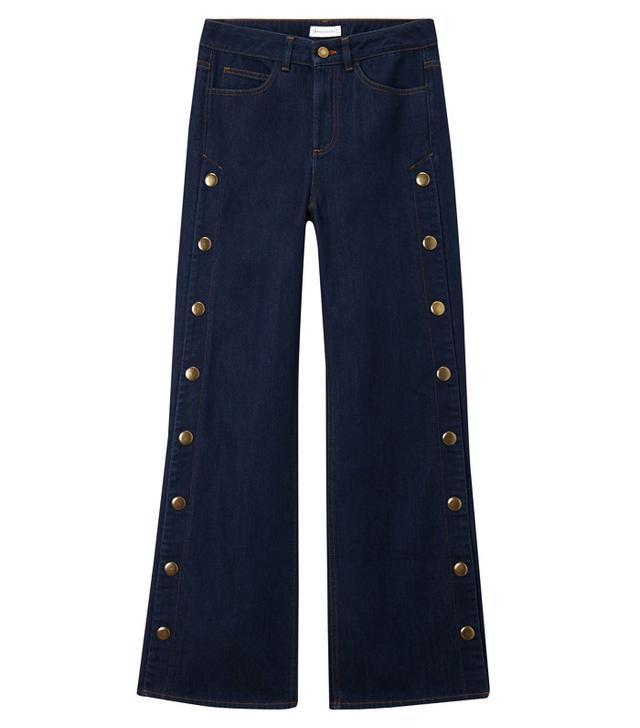 Warehouse Wide Leg Popper Jeans