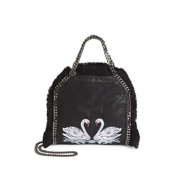 Stella McCartney Mini Bella Swans Metallic Faux-Suede Tote
