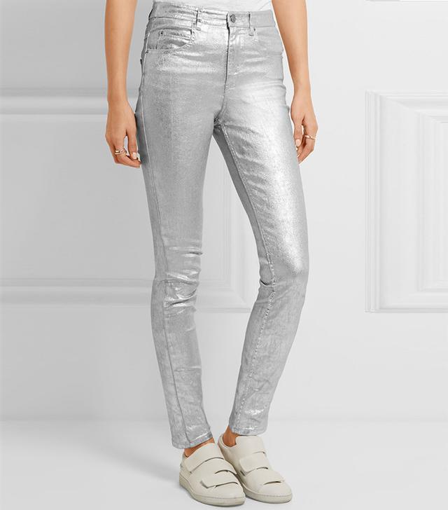 Isabel Marant Étoile Ellos Metallic Coated High-Rise Skinny Jean