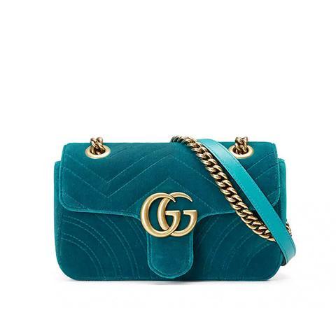 GG Marmont 2.0 Mini Quilted Velvet Crossbody Bag
