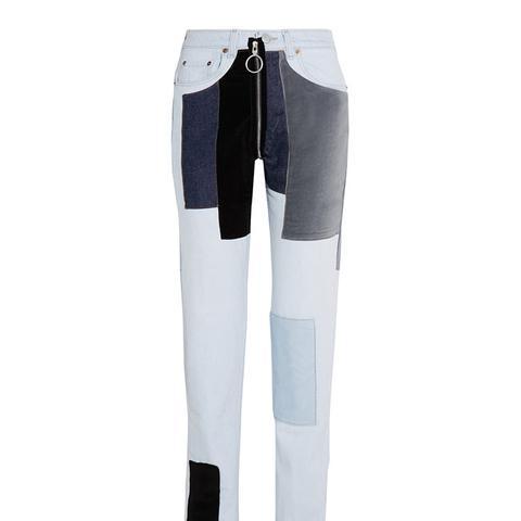 Patchwork Velvet-Paneled Mid-Rise Straight-Leg Jeans