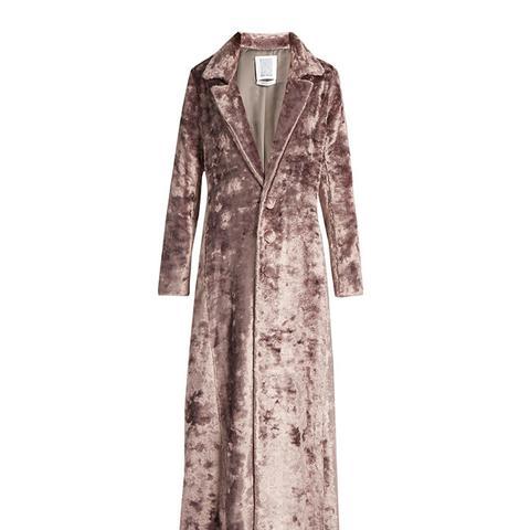 Notch-Lapel Velvet Coat