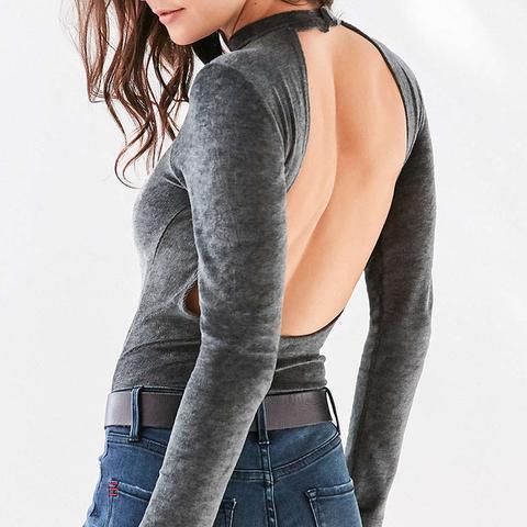 Velvet Open Back Bodysuit