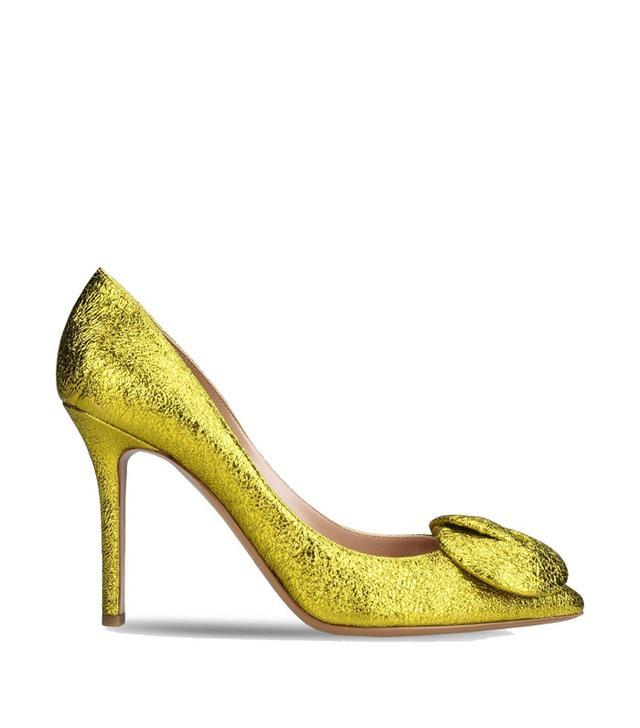 Emporio Armani Metallic Crackle Leather Court Shoe