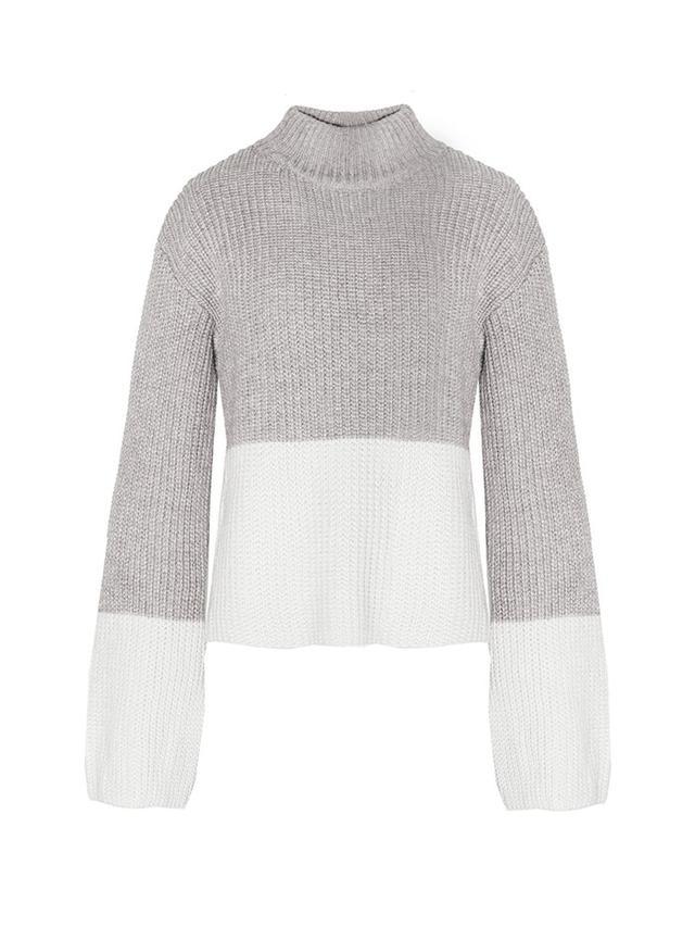 Pixie Market Color Block Grey Sweater