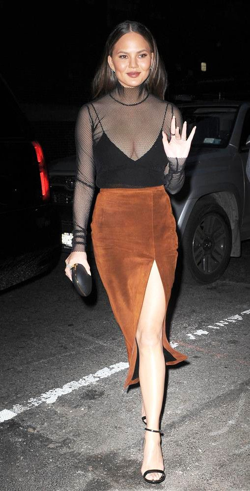 Chrissy Teigen Sally Lapointe Suede High Slit Skirt New York 2016