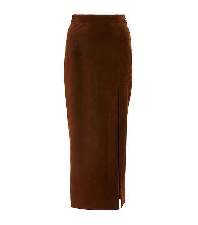 Sally LaPointe Suede High Slit Skirt