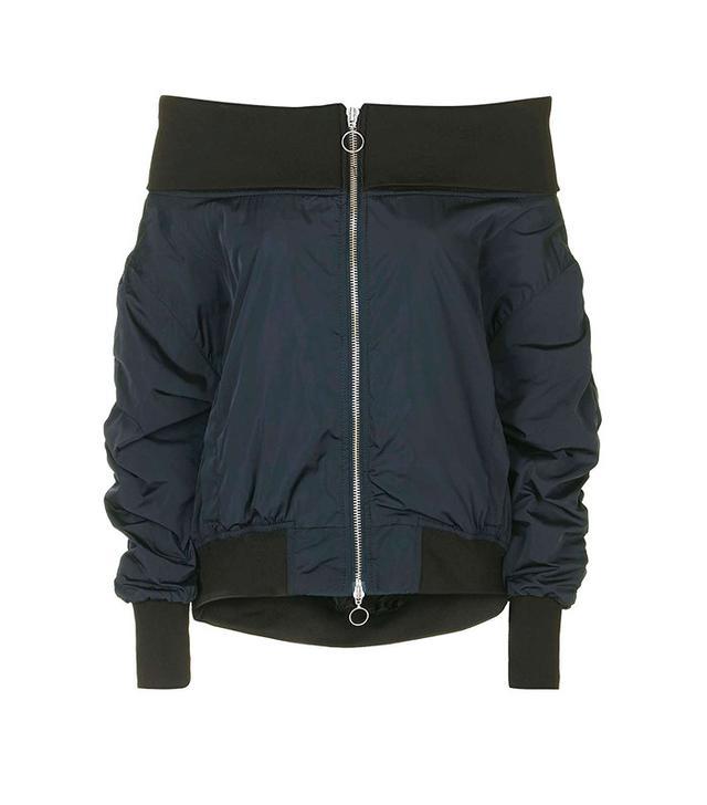 Topshop Boutique Off-The-Shoulder Bomber Jacket