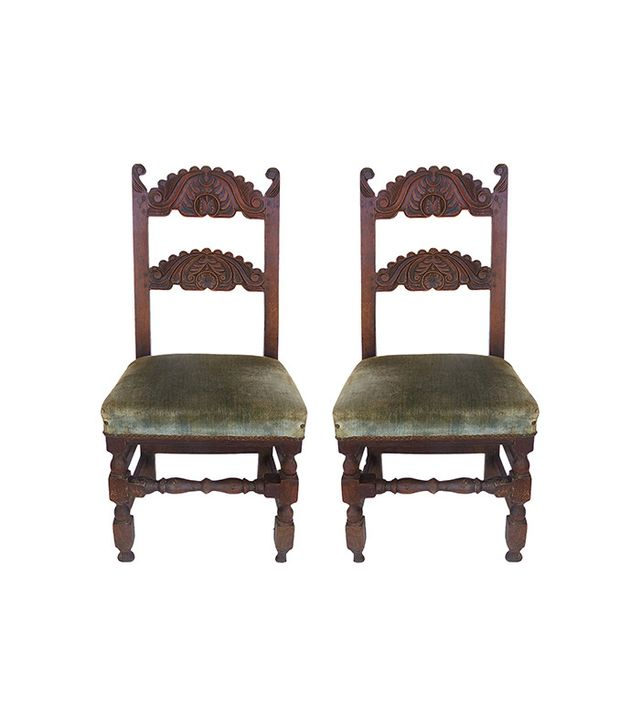 Studio Modern Antique Carved English Oak Chairs
