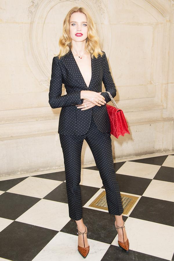 WHO:Natalia Vodianova WHAT: Dior S/S 17 show WEAR:Dior bag.