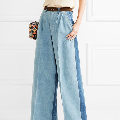 Suede-Trimmed Wide-Leg Jeans