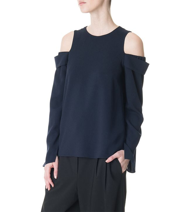 Tibi Savanna Crepe Off-Shoulder Halter Top