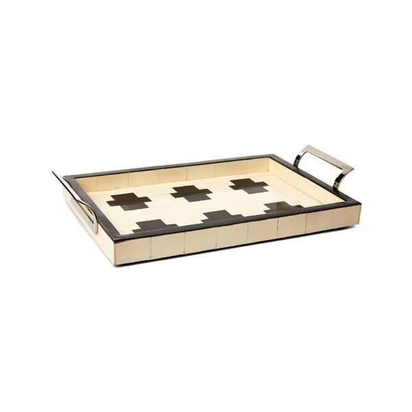 One Kings Lane Bath-House Tray in Ivory and Black